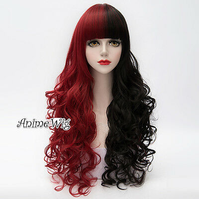 Lolita Black Mixed Red Long 80CM Curly Fashion Party Cosplay Wig with Bangs New