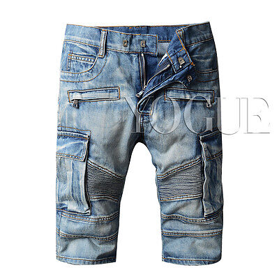 Men's Moto Biker Jeans Shorts Casual Slim Fit Blue Knee Length Denim Short Pants