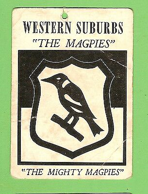 1968  Scanlens  Western  Suburbs Magpies  Rugby League Team  Crest Card