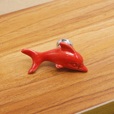 Colorfast Red Dolphin Ceramic Drawer Cabinet Cupboard Door Pull Handle Knob