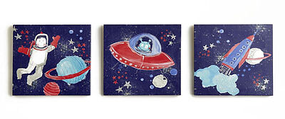 Space, Starships and Rockets Canvas Art - Set of 3
