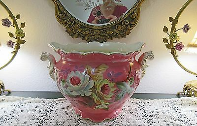 Antique Hand Painted Pink Roses Victorian Jardiniere,planter,vase,shabby Decor