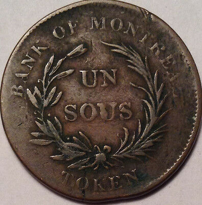 1836 Lower Canada Bank Of Montreal Token Br.714 Un Sous