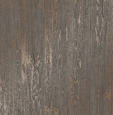 Wood Effect Wallpaper Distressed Wooden Grain Loft Wood Brown Metallic Copper