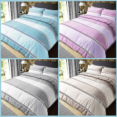 Banded stripe Reversible Quilt Duvet Cover With Pillowcases Bedding Set All Size
