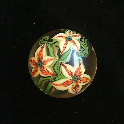 Orient & Flume 1980 Clear Frosted Gold Iriscene Tiger Lilies & Vines Paperweight