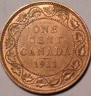 1911 Canada Large 1 Cent Penny - Cleaned