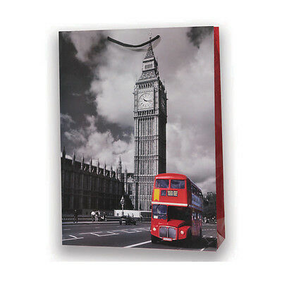★1 Busta Carta Cartoncino Plastificato Shopper Vintage London Big Ben 26 X 20★