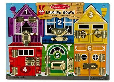 NEW Melissa and Doug Wooden Latches Board - Kids Lock Educational Play Toy