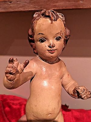 Rare 18Th Century Standing Cherub With Original Polychrome, And Glass Eyes