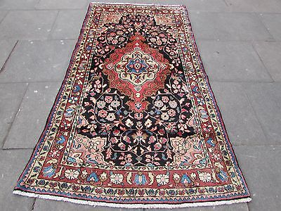 Old Traditional Persian Rug  Oriental Hand Made Wool Blue Red Rug 222x122cm