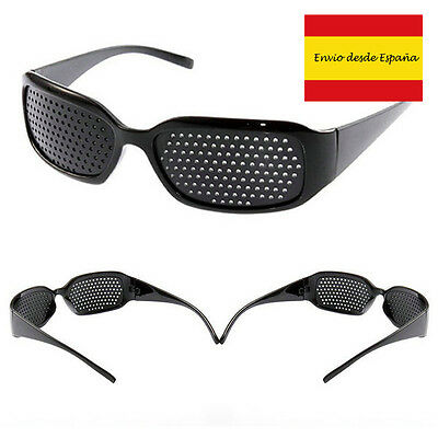 Sunglasses with hole for improve la vision eye see pin hole black