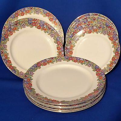 Antique SAMPSON BRIDGWOOD Floral Rim - 13 Plates (5 Dinner, 3 Lunch, 5 Dessert)