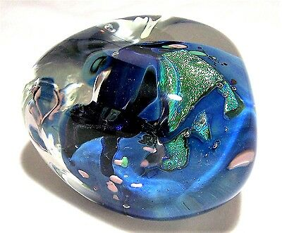 Rollin Karg Abstract Blue Dichroic Blown Art Glass Papeweight Heavily Cased 517h
