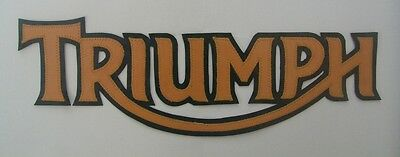 Triumph Motorcycles 13 Inch Patch Gold Lettering With Black Synthetic Leather