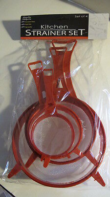 Kitchen Strainer Set of 4. Plastic. Varied Sizes. New & Useful. With Handle.