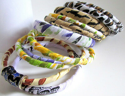 10 x African Ankara Kente other fabrics stacking bracelets.Small to Medium hand