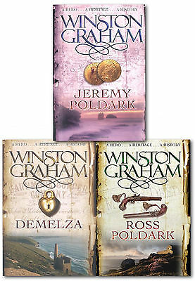 Winston Graham Poldark Series Trilogy Books 1, 2, 3, Collection 3 Books Set Pack