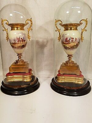 SUPERB GILT ORMOLU LARGE 19th C SEVRES STYLE PORCELAIN VASES URNS STANDS