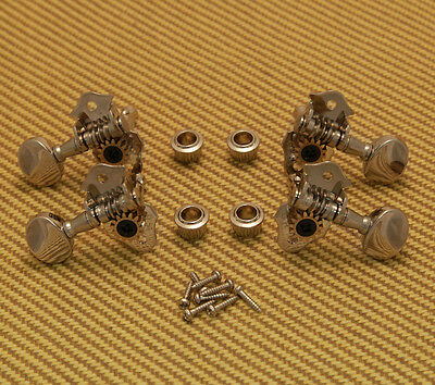 8N Grover Sta-Tite Geared Ukulele Pegs 2+2 Tuners Nickel Finish/Metal Buttons