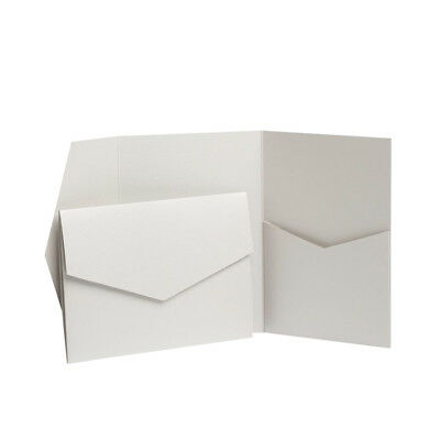 Pale Silver Wedding Invites. Pearl Silver Pocket Cards. Pocketfold Invitations