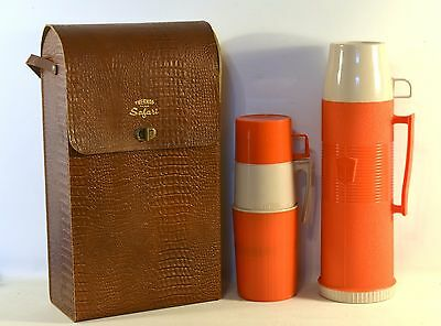 Rare Vintage Mid-Century Leather Safari Case 2 Thermos Bottle Mint Condition