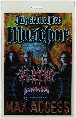 Slayer authentic 2003 Laminated Backstage Pass Jagermeister Tour Hatebreed AA
