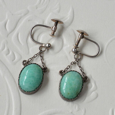 Vtg Antique Victorian Edwardian Amazonite Sterling Silver Drop Screw on Earrings
