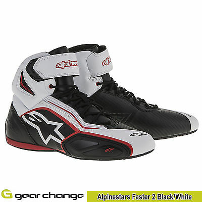 Alpinestars Faster 2 Black/White Motorcycle Boots