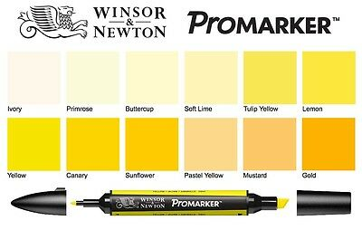 Winsor & Newton ProMarkers - YELLOWS - twin-tipped graphic art marker pens