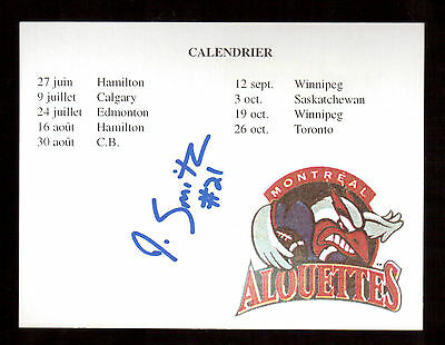 Montreal Alouettes # 21 Irvin Smith Autographed Montreal Alouettes Calendar !!
