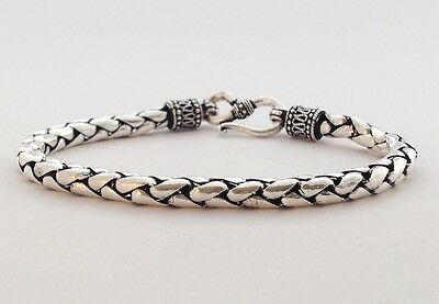 Men's Sterling Silver 925 Bali Braid Snake Weave 5Mm Chain Link Jewelry Bracelet