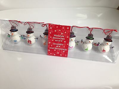 Hallmark Miniature ChristmasTree Ornaments 6-Piece Snowmen Set, NEW IN BOX!
