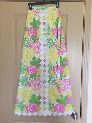 Vintage Lilly Pulitzer The Lilly Maxi Wrap Skirt Lace Trim Floral