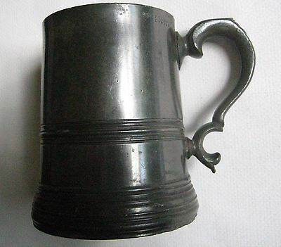 Antique 19thc Glass Bottom Pewter Pint Mug Watts & Harton London