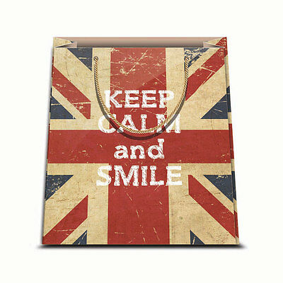 ★1 Busta In Carta Cartoncino Plastificato Shopper Keep Calm And Smile 31,5 X 45★