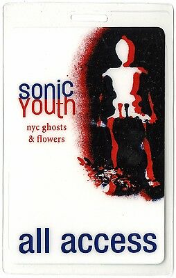 Sonic Youth authentic 2000 Laminated Backstage Pass NYC Ghosts Flowers Tour AA