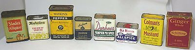 Lot of 8 Vintage Spice Tins, Collectible Advertising Durkee's Watkins Schilling