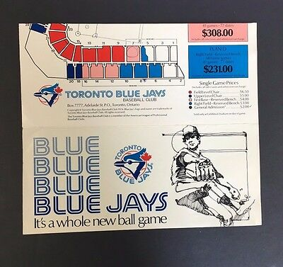 Toronto Blue Jays Brochure Advertising For Tickets Inaugural Season Baseball