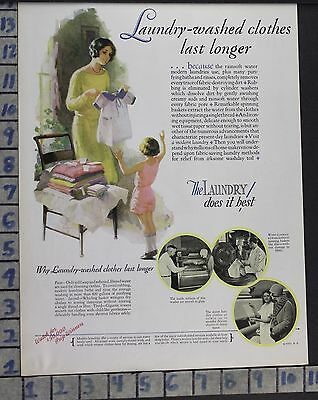 1928 Laundry Clothes Dry Clean Child Housewife Home Decor Vintage Art Ad  Cg09