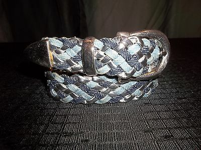 "DENIM & SILVER  BRAIDED Leather BELT  GIRLS  Size 28"" M/L"