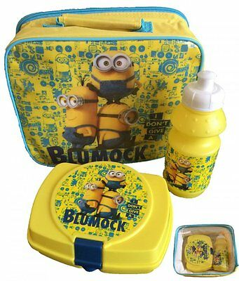 Boys Minions Despicable Me Minion three piece lunch bag bottle and lunch box set