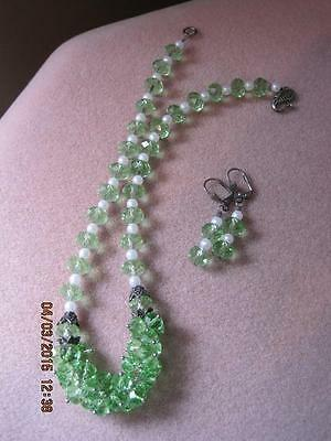 Stunning HANDCRAFTED Light Green Faceted Glass Cluster Front Necklace & Earrings