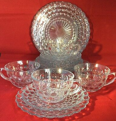 Vintage Set for 4 Anchor Hocking Blue Bubble Glass -16 Pieces - Rare in UK