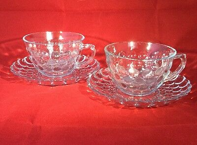Pair of Vintage Anchor Hocking Blue Bubble Glass Tea Cups & Saucers - Rare in UK