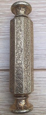 Antique Islamic Persian Perfume Scent Bottle Silver Gilded Double Ended Decagon