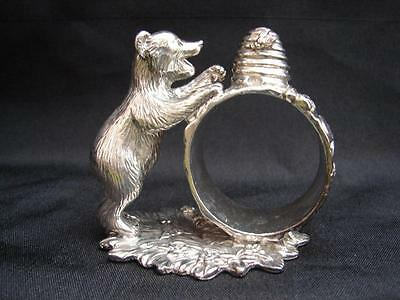 Reed & Barton Silverplate 1824 collection Figural Bear Napkin Ring holder