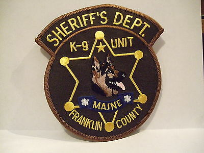 police patch  FRANKLIN COUNTY SHERIFF K-9 UNIT MAINE  K9