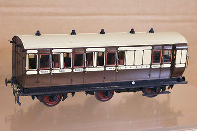 LAWRENCE SCALE MODELS O GAUGE KIT BUILT LB&SCR 6 WHEEL BRAKE 3rd COACH 534 nk
