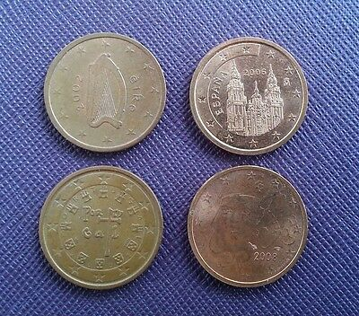 France, Portugal, Eire and Spain 2 Euro Cent coins